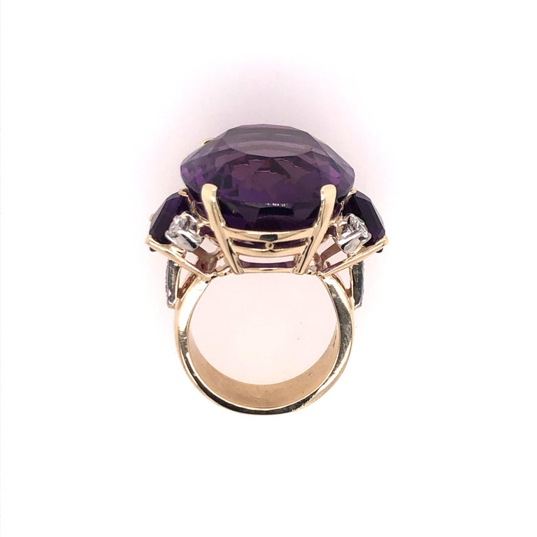 Large Oval Amethyst and Diamond Yellow Gold Ring For Sale 3