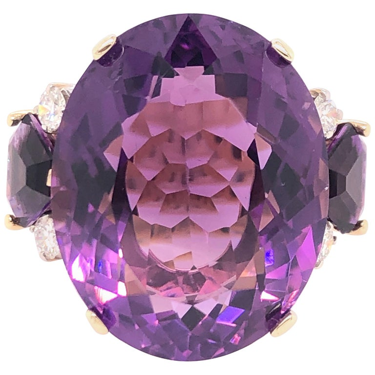 Large Oval Amethyst and Diamond Yellow Gold Ring For Sale