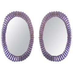 Large Oval Amethyst Murano Glass Mirror
