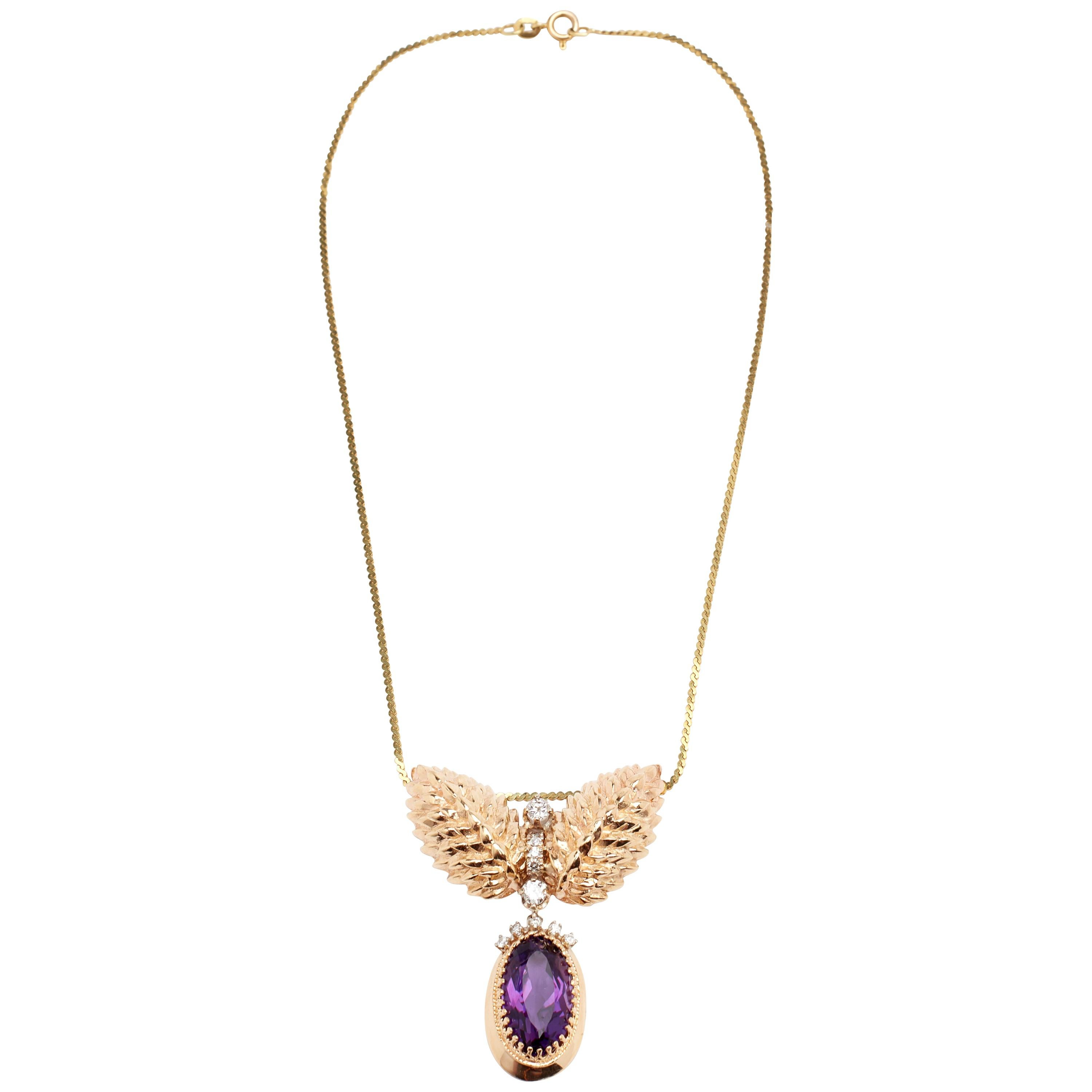 Large Oval Amethysts and Diamond Pendant Necklace with Chain