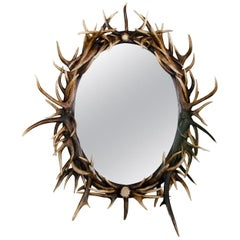 Large Oval Antler Horn Mirror