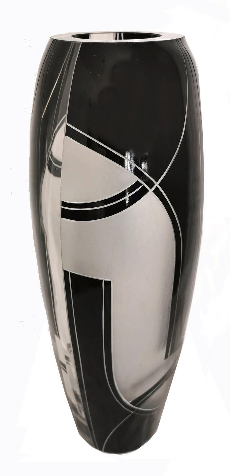 Large Oval Art Deco Geometric Enamel Glass Vase In Good Condition For Sale In Devon, England