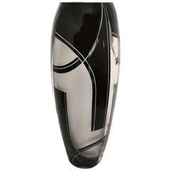 Large Oval Art Deco Geometric Enamel Glass Vase