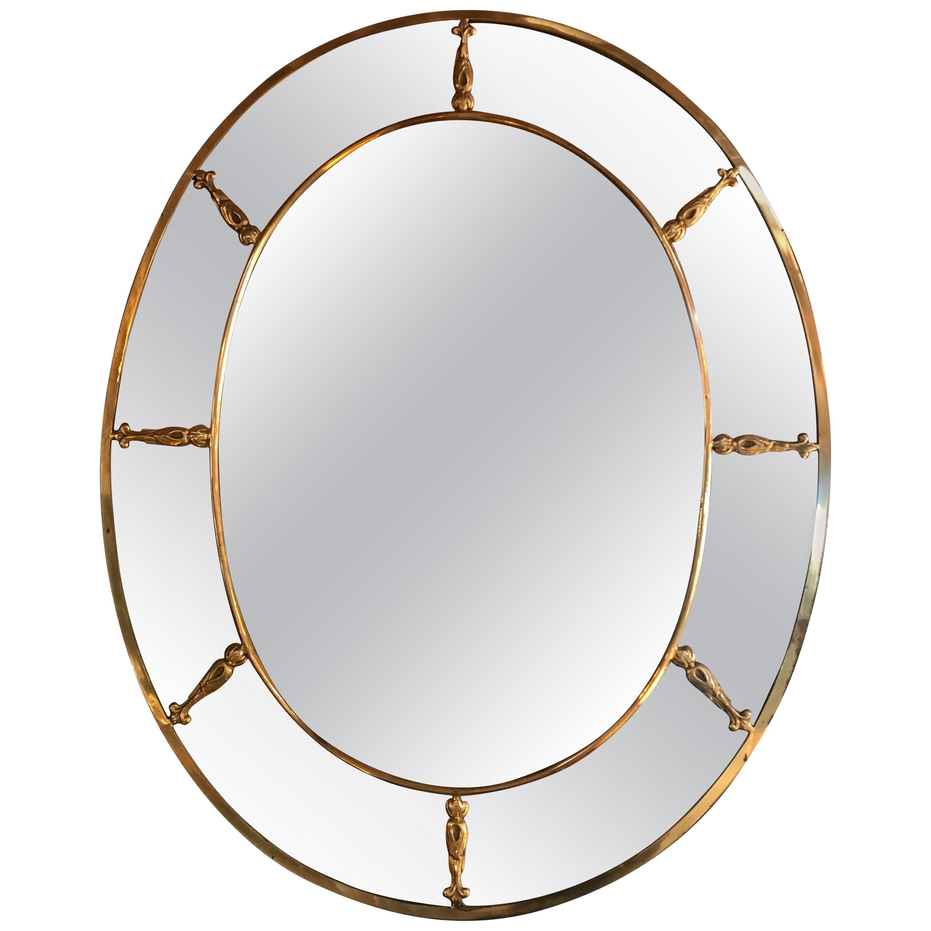Large Oval Art Deco Mirror with Brass Decorations, Italy, 1930s