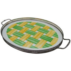 Large, Oval Art Deco Porcelain Tile Serving Tray, Woven Yellow and Green Pattern