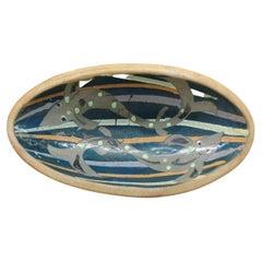 Large Oval Art Pottery Decorative Bowl