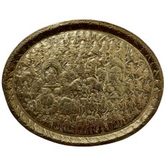 Large Oval Asian Brass Wall Hanging Marriage Charger