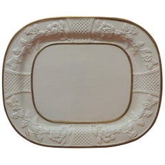 Large Oval Bone China Platter with Gold Details