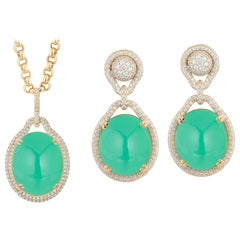 Goshwara Oval Chrysoprase With Diamond Pendant & Earring