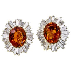 Large Oval Citrine and Baguette Diamond Earrings in 18 Karat Yellow Gold