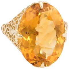Large Oval Citrine Filigree Cocktail Ring Estate 10 Karat Yellow Gold
