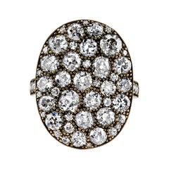 Large Oval Cobblestone Diamond Ring in 18 Karat Yellow Gold