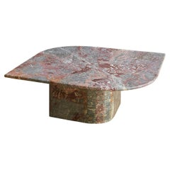 Large Oval Coffee Table in Gray and Pink Marble