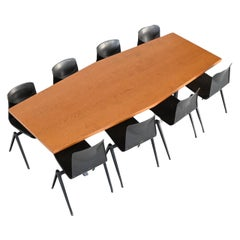 Large Oval Conference or Dining Table Oak Wood, The Netherlands, 1970