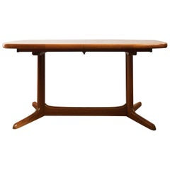 Large Oval Danish Midcentury Extendable Teak Dining Table by Rasmus, 1960s