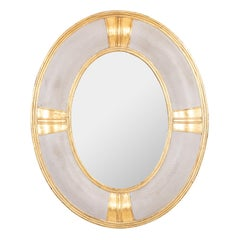 Large Oval Faux Hide Mirror