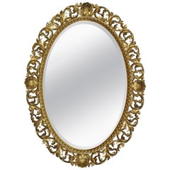 Large Oval Florentine Gilt Wall Mirror