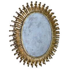 Large Oval Gilt Iron Sunburst Soleil Wall Mirror