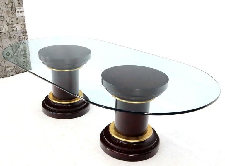 Large Oval Glass Top Two Round Turned Mahogany Pedestal Bases Dining Table For Sale 6