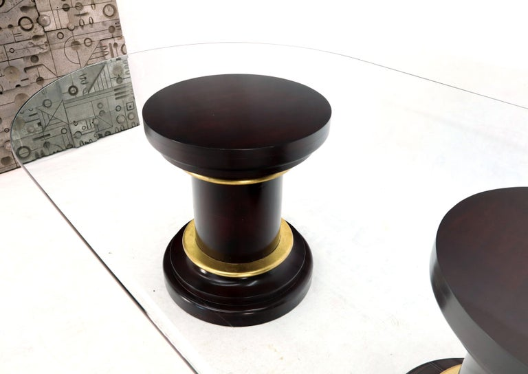 Large Oval Glass Top Two Round Turned Mahogany Pedestal Bases Dining Table For Sale 7