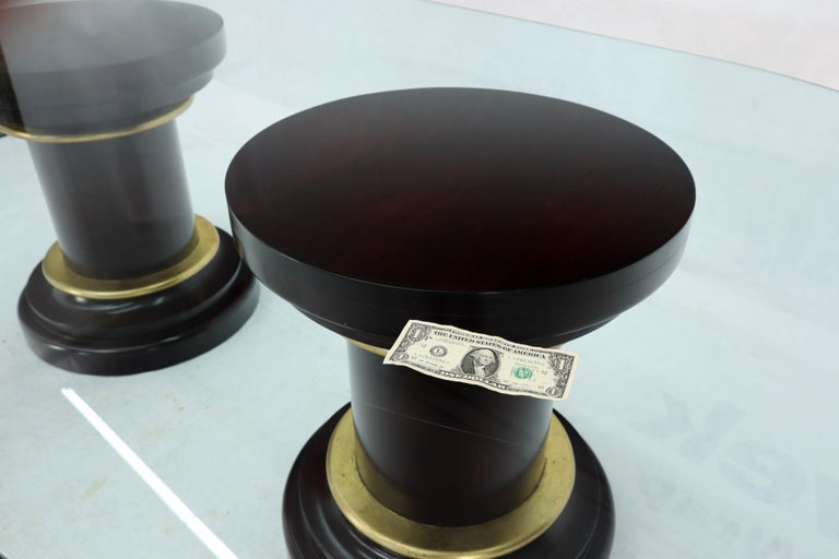 Large Oval Glass Top Two Round Turned Mahogany Pedestal Bases Dining Table For Sale 8