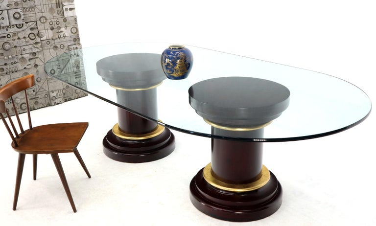 Large Oval Glass Top Two Round Turned Mahogany Pedestal