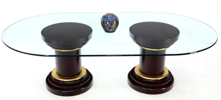 Large Oval Glass Top Two Round Turned Mahogany Pedestal Bases Dining Table In Good Condition For Sale In Rockaway, NJ