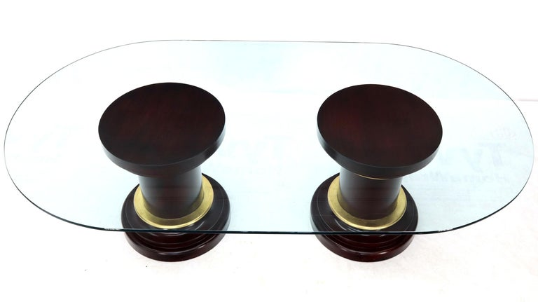 20th Century Large Oval Glass Top Two Round Turned Mahogany Pedestal Bases Dining Table For Sale
