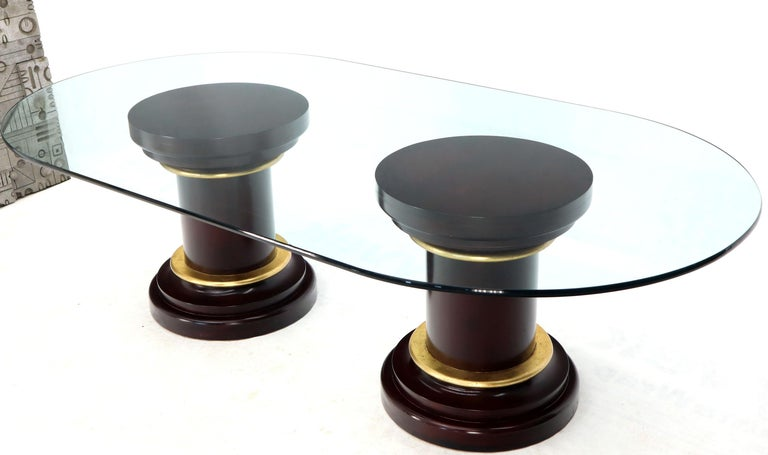 Large Oval Glass Top Two Round Turned Mahogany Pedestal Bases Dining Table For Sale 1
