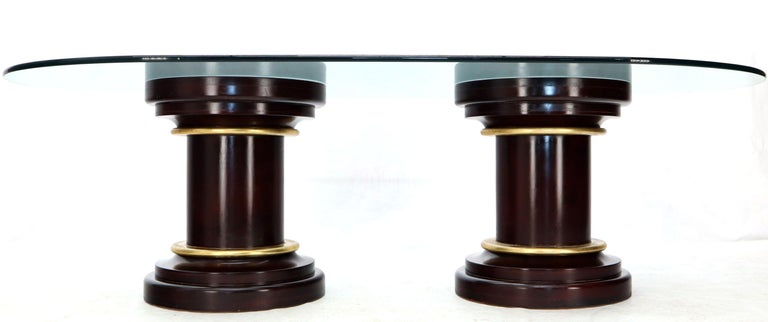 Large Oval Glass Top Two Round Turned Mahogany Pedestal Bases Dining Table For Sale 2