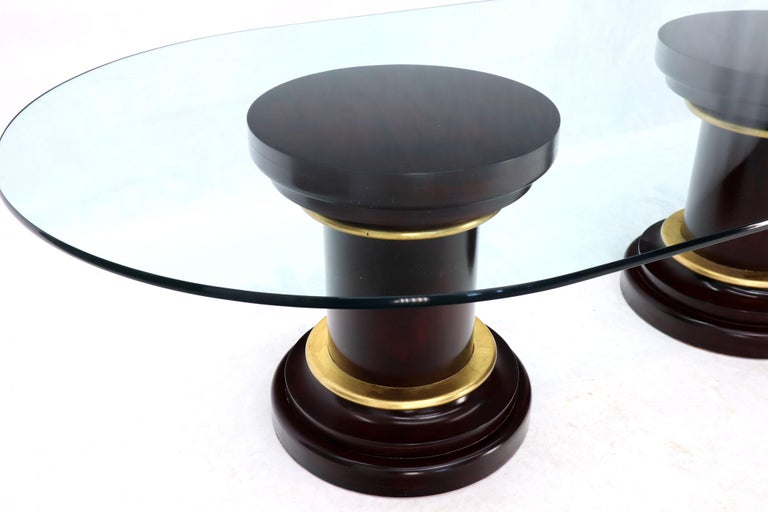 Large Oval Glass Top Two Round Turned Mahogany Pedestal Bases Dining Table For Sale 3
