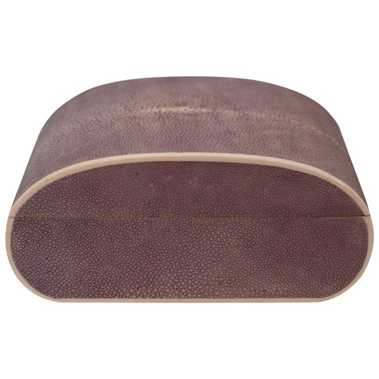 Large Oval Lavender Authentic Shagreen Covered Box For Sale