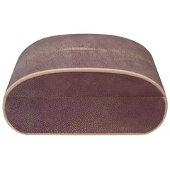 Large Oval Lavender Purple Authentic Shagreen Covered Box