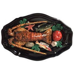 Large Oval Majolica Palissy Lobster and Fish Wall Platter Vallauris, circa 1950