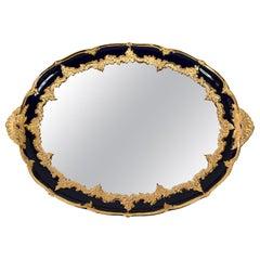 Large Oval Meissen Porcelain Gilded Cobalt Blue Plate