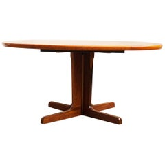 Large oval Mid-Century Modern Extendable Teak Dining Table, 1960s