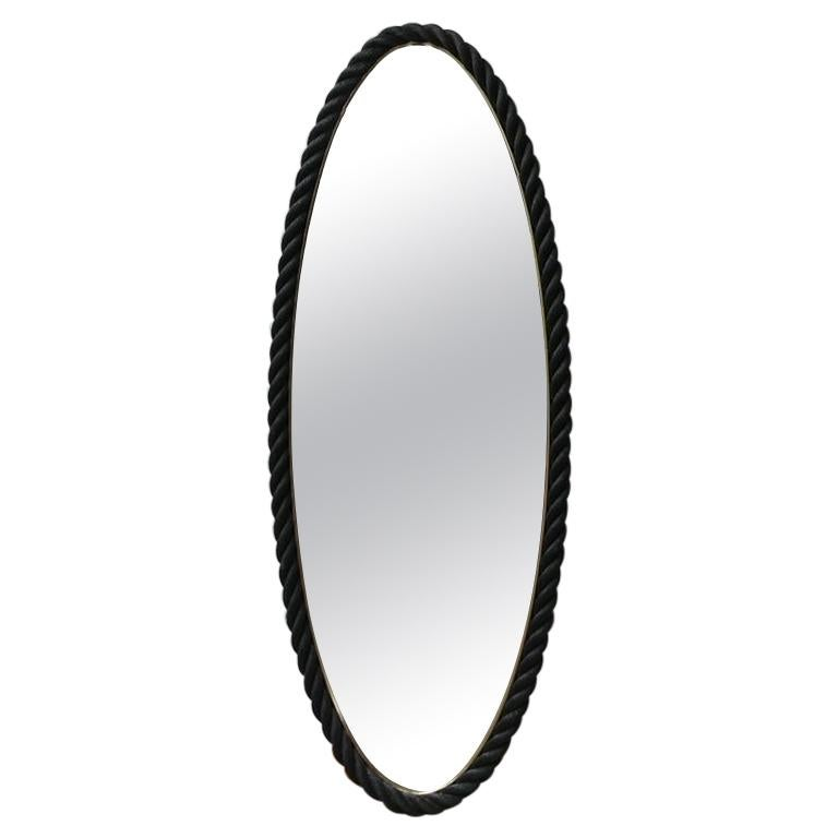 Large Oval Mid-Century Rope Mirror by Audoux-Minet