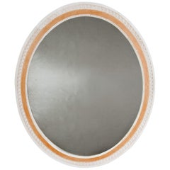 Large Oval Mirror with White and Ochre Painted Gesso Border