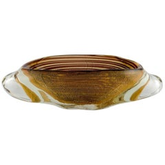 Large Oval Murano Bowl in Mouth Blown Art Glass with Spiral Design, 1960s