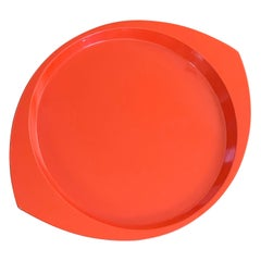 Large Oval Orange Lacquer Tray by Jens Quistgaard for Dansk, Early Production