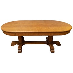 Large Oval Quarter Sawn Oak Conference Table/ Dining Room Table, circa 1900
