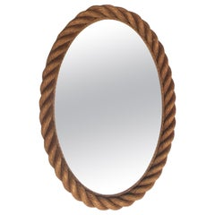 Large Oval Rope Mirror Audoux Minet, circa 1960