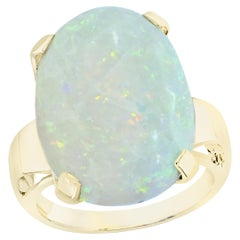 Large Oval Shape Opal Cocktail Ring 14 Karat Yellow Gold, Estate, Closeout