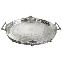 Large Oval Sterling Silver Hand Engraved Antique Gallery Tray, Mappin & Webb