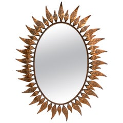 Large Oval Sunburst Mirror with Antique Copper-Plated Finish