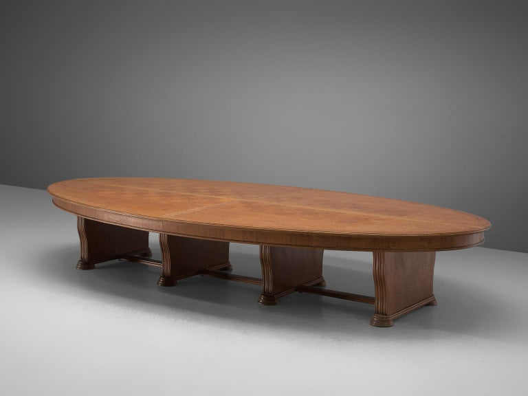 Large conference table, oak, Europe 1950s.   Very large, oval conference table in oak. The top show beautiful inlayed wooden squares. A geometric pattern is created due horizontal and vertical lines. The large top is made out of four pieces. The
