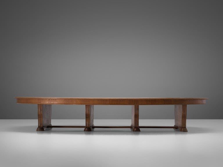 Mid-Century Modern Large Oval Table in Walnut with Inlayed Top  For Sale