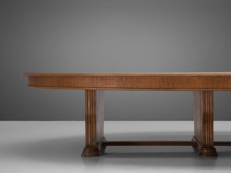European Large Oval Table in Walnut with Inlayed Top  For Sale
