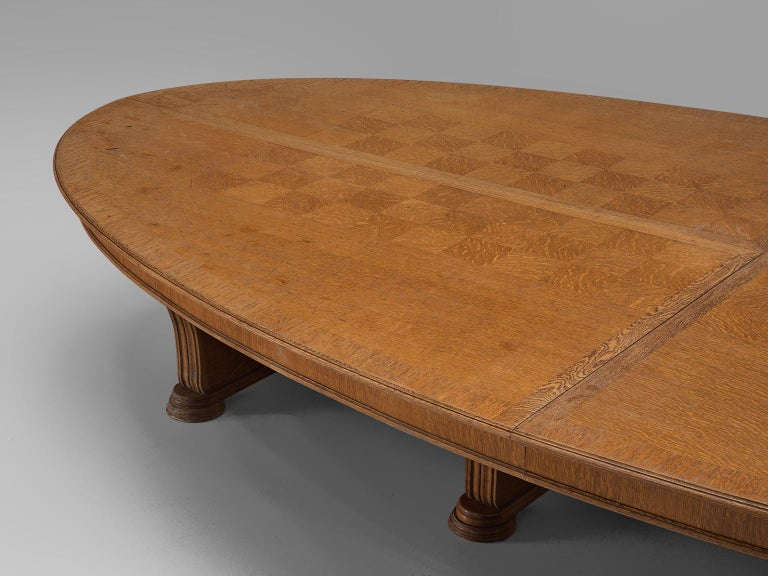 Large Oval Table in Walnut with Inlayed Top  In Good Condition For Sale In Waalwijk, NL