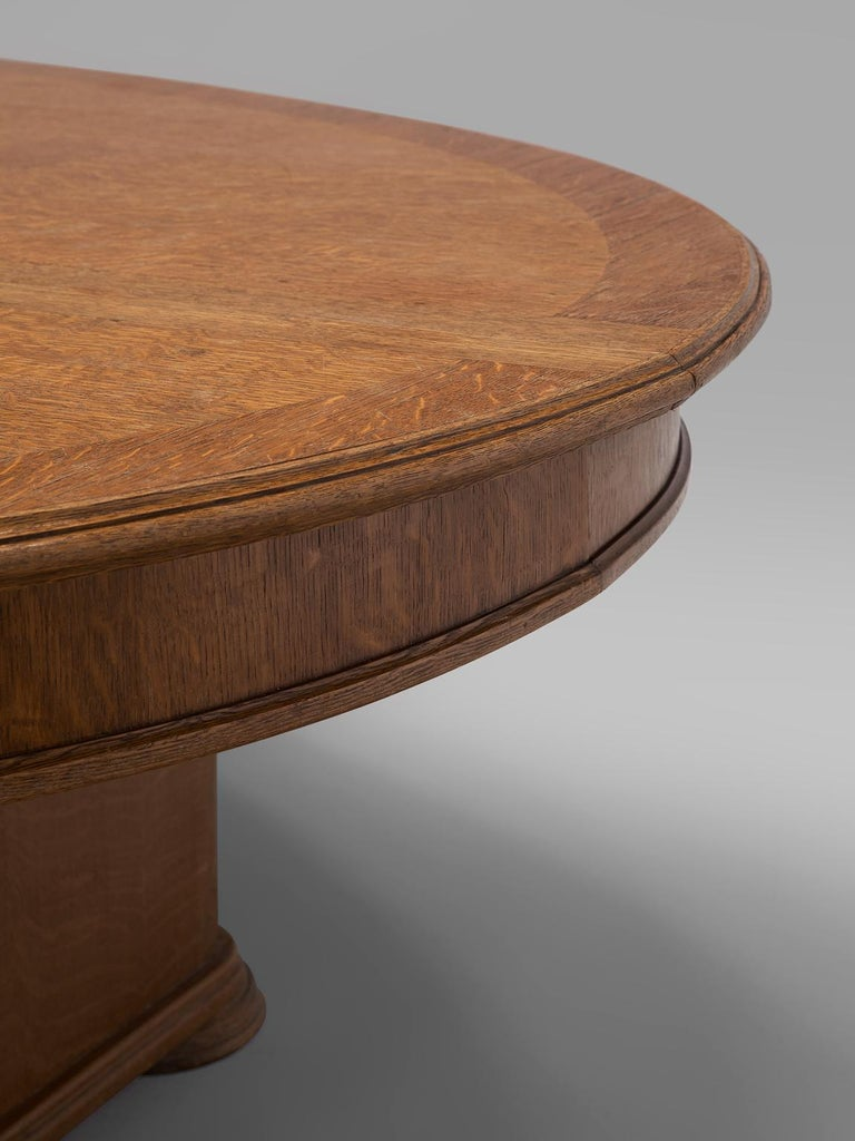 Mid-20th Century Large Oval Table in Walnut with Inlayed Top  For Sale